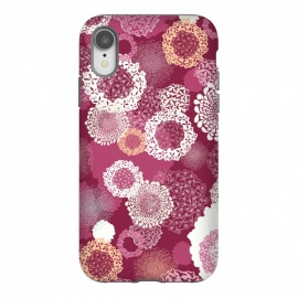 iPhone Xr  Doily Flowers on Dark Pink by Paula Ohreen