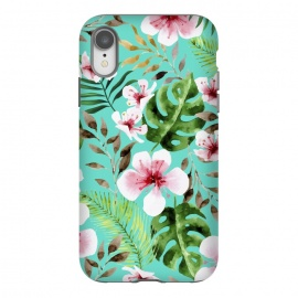 iPhone Xr  Lovely V2 by Uma Prabhakar Gokhale (acrylic, watercolor, pattern, floral, tropical, exotic, botanical, nature, monstera, palm leaves, palm, palms, palm leaf, flowers, blossom, blush, pink)