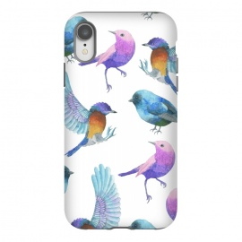 iPhone Xr  Colorful Watercolors Birds Pattern by Dushan Medich