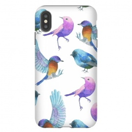 Colorful Watercolors Birds Pattern by Dushan Medich