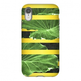 iPhone Xr  Green Leaves and Gold Stripes by Alemi