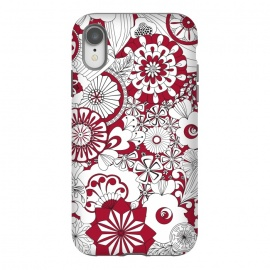 iPhone Xr  70s Flowers - Red and White by Paula Ohreen