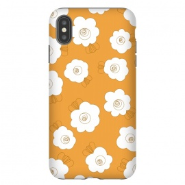 Fluffy Flowers - White on Pumpkin Orange by Paula Ohreen