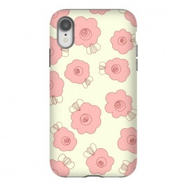 iPhone Xr  Fluffy Flowers - Pink on Cream by Paula Ohreen