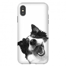 iPhone Xs Max  Black and White Happy Dog by