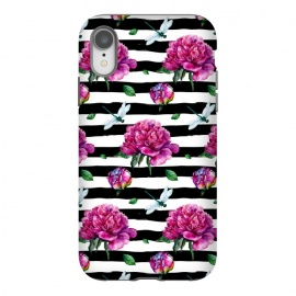 iPhone Xr  Black Stripes and Peonies by Utart