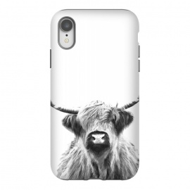 iPhone Xr  Black and White Highland Cow by Alemi