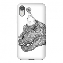 iPhone Xr  Party Dinosaur by ECMazur  (dinosaur,trex,tyrannosaurus rex,realistic,pen art,surreal,party,party hat,awesome,cool ,black and white,dino,reptile)