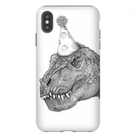 iPhone Xs Max  Party Dinosaur by ECMazur  (dinosaur,trex,tyrannosaurus rex,realistic,pen art,surreal,party,party hat,awesome,cool ,black and white,dino,reptile)