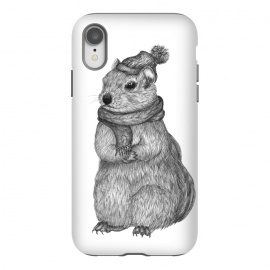 iPhone Xr  Chilly Chipmunk by ECMazur  (chipmunk,animal,nature,chilly,cute,adorable,winter,hat and scarf,creature,forest critter,black and white,pen art)