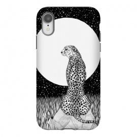 iPhone Xr  Cheetah Moon by  (cheetah,wildcat,cat,moon,night,stars,nature,wildlife,serengetti,black and white,pen art,magical,surreal)