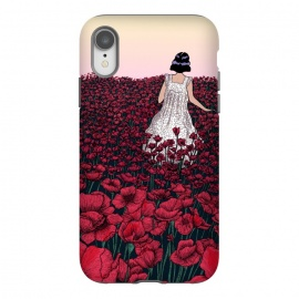 iPhone Xr  Field of Poppies II by ECMazur  (illustration,digital art,poppies,red,flowers,floral,meadow,girl,wander,beautiful,dusk,sunset)