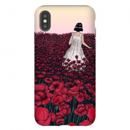 iPhone Xs Max  Field of Poppies II by ECMazur  (illustration,digital art,poppies,red,flowers,floral,meadow,girl,wander,beautiful,dusk,sunset)