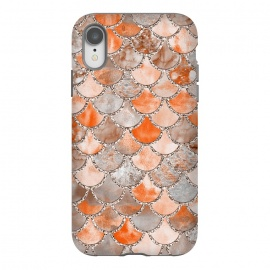 iPhone Xr  Salmon Peach and Silver Glitter WAtercolor Mermaid Scales by Utart