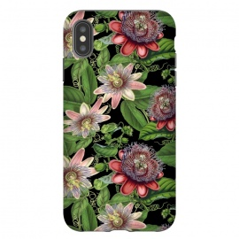 iPhone Xs Max  Vintage Passiflora Pattern on Black by Utart