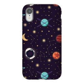 iPhone Xr  Universe with planets, stars and astronaut helmet seamless pattern, cosmos starry night sky, vector illustration by Jelena Obradovic