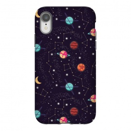 iPhone Xr  Universe with planets and stars seamless pattern, cosmos starry night sky 004 by Jelena Obradovic