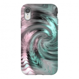 iPhone Xr  Abstract Fractal Swirl Rose Gold And Teal by Andrea Haase