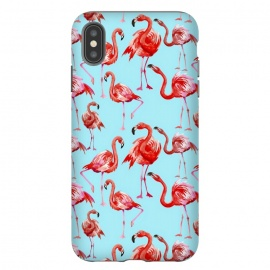 iPhone Xs Max  Flamingos on Blue by Utart