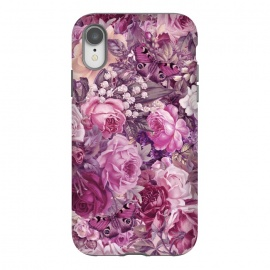 iPhone Xr  Vintage Pink Rose Butterfly Pattern by Andrea Haase