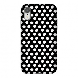 iPhone Xr  Hand drawn white polka dots on black by DaDo ART