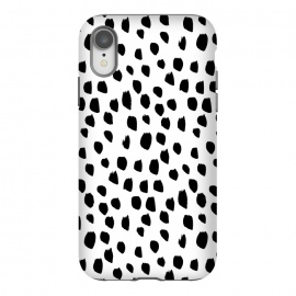 iPhone Xr  Hand drawn black crazy polka dots on white by DaDo ART