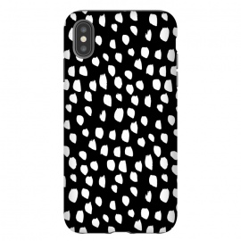 Hand drawn crazy white polka dots on black by DaDo ART