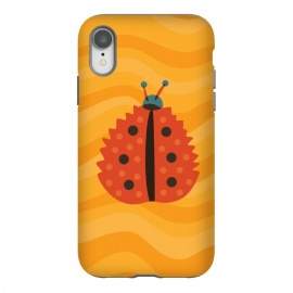 iPhone Xr  Orange Ladybug With Autumn Leaf Disguise by Boriana Giormova (mimicry, funny, illustration, animal, nature, insect, color, cute ladybug, ladybird, bug, vector, cartoon, leaf, fun, bright, dot, beautiful, autumn colors, orange, orange leaf, autumn leaf, autumn, fall, fall season, season, seasonal, autumnal, leaves, vibrant color, yellow, whimsical, abstract, ab)