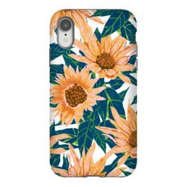 iPhone Xr  Blush Sunflowers by Uma Prabhakar Gokhale (pattern, floral, sunflower, sunflowers, flowers, nature, botanical, garden, meadow, blossom, bloom, leaves, foliage, hand drawn)