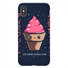 iPhone Xs Max  Ice cream lovers club by Ilustrata (icecream, japanese, cute, kawai, lettering, snow, winter, pixel, pixelart)