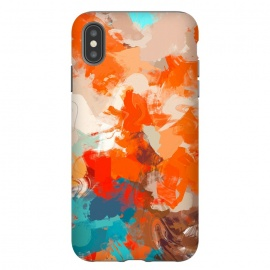 iPhone Xs Max  Pleasure by Uma Prabhakar Gokhale (acrylic, abstract, random, warm, bold, red, orange, summer, blue, teal, turquoise, water, sun)