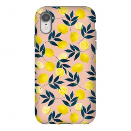 iPhone Xr  Lemony Goodness by Uma Prabhakar Gokhale (graphic design, typography, lemons, nature, fruit, fresh, dleicious, citrus, food, lemon pattern, yellow, pink, blush, botanical, leaves)