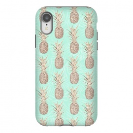 iPhone Xr  Golden and mint pineapples pattern by InovArts