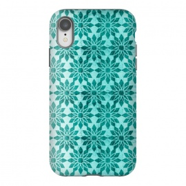 iPhone Xr  Majorelle by Heather Dutton (geometric,geo,pattern,patterns,graphic design,aqua,aquamarine,blue,turquoise,flower,floral,boho,bohemian,design,print)