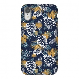iPhone Xr  Festive Forest by Heather Dutton (pinecone,pattern,patterns,print,illustration,graphic design,christmas,holiday,winter,nature,nature inspired,snow,blue,navy,navy blue,holidays)