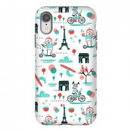 iPhone Xr  Bicyclette by  (bicycles,cycling,french,whimsical,eiffel tower,humor,illustration,kids,novelty,pattern,patterns,graphic design,retro,vintage,aqua,aquamarine,red,travel,skooter)