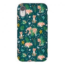 Endangered Wilderness Dusk by Heather Dutton (wildlife,animal,animals,nature,nature inspired,jungle,pattern,patterns,illustration,graphic design,teal,blue,tiger,tigers,elephant,wilderness,whimsical,kids)