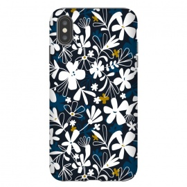 iPhone Xs Max  Eloise by Heather Dutton (floral,floral print, floral pattern, flower, flowers,nature, nature inspired, summer, blue,illustration,graphic design,design,feminine,navy,navy blue,garden,retro, vintage,vector)