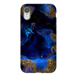iPhone Xr  Indigo Blue and Gold Glitter Marble by Utart