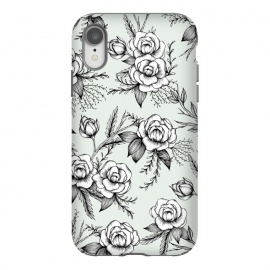 iPhone Xr  Bloom by Barlena (Flowers, Floral, Roses, Leaves, Nature, Pattern, Illustration, Drawing, Modern, Garden)