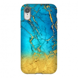 iPhone Xr  Sea Blue and Sun Gold Marble and Glitter by Utart