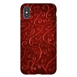 iPhone Xs Max  Whimsical Elegant Textured Red Swirl Pattern by Boriana Giormova