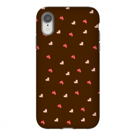 iPhone Xr  red hearts with brown background by MALLIKA