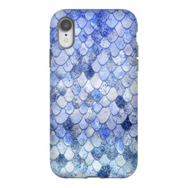 iPhone Xr  Blue Summer Wonky Watercolor and Glitter Mermaid Scales by Utart