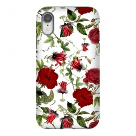 iPhone Xr  Red Hibiscus and Passiflora Pattern on White by Utart