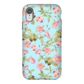 iPhone Xr  Pastel Teal and Pink Roses Pattern by Utart