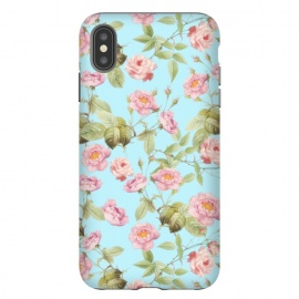 iPhone Xs Max  Pastel Teal and Pink Roses Pattern by Utart
