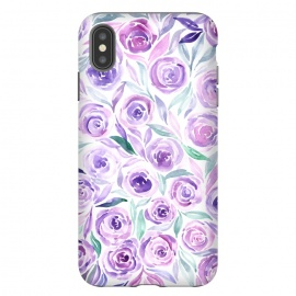 iPhone Xs Max  Purple Rose Floral Print by