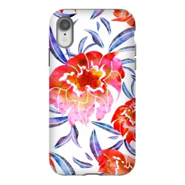 iPhone Xr  Surface of Love by Uma Prabhakar Gokhale (watercolor, pattern, floral, nature, flowers, blossom, love, bloom, tropical, exotic, flora, pink, red, summer, spring, blue)