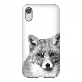 iPhone Xr  Black and White Fox by Alemi